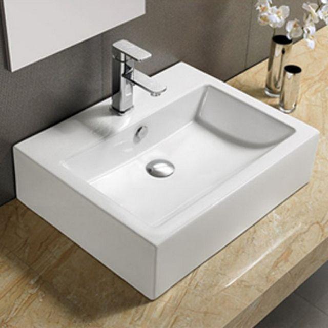 vasque a poser ceramique Rue Du Bain - Vasque à Poser et- ou Suspendre Rectangulaire - Céramique -  57x45