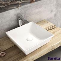 Vasque carrée à poser en céramique 40 cm - Talia