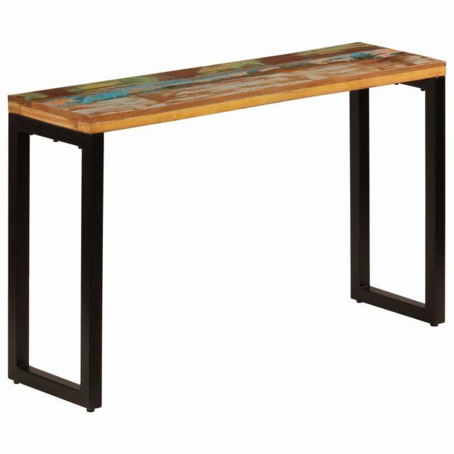 Consoles collection Wellington Table console 120x35x76 cm Bois de  récupération solide et acier
