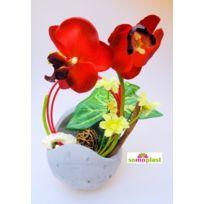 Somoplast - Composition florale avec orchidée - Fleur artificielle - Vase original en pierre - Création haut de gamme