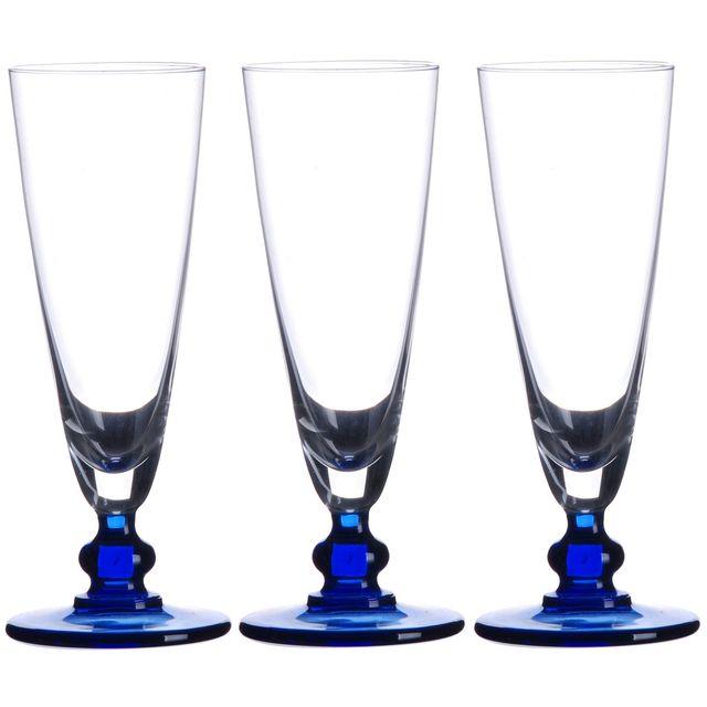 Promobo Set Lot 3 Flutes A Champagne Verre Venise Socle Aspect Rubis Bleu 18cl