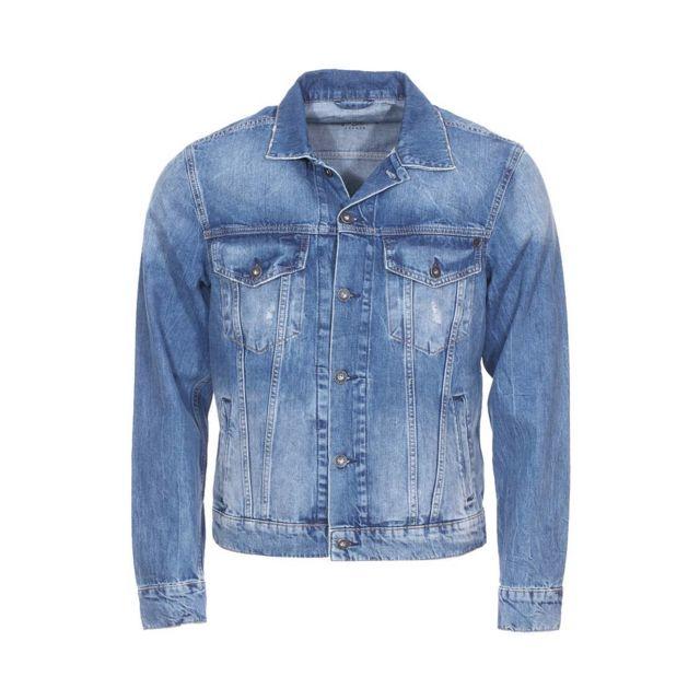 Pepe Jeans - Veste en jean Pinner bleu délavé, effet usé - pas cher Achat    Vente Blouson homme - RueDuCommerce 5c06434c5b88