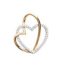 Collection Zanzybar - Pendentif deux coeurs enlacés doré à l or fin et brillants ÉTINCELLE