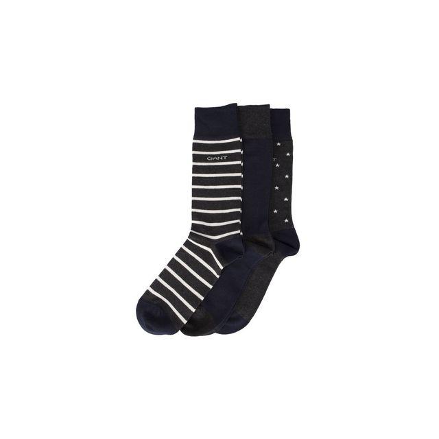 b8a7dd8bd31 Gant - Chaussettes pack de 3 - pas cher Achat   Vente Chaussettes -  RueDuCommerce