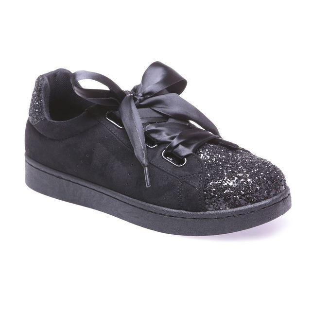 Lamodeuse - Tennis noires avec paillettes et lacets ruban - pas cher ... f95254ca9901