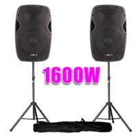 """Vexus - Enceintes Dj Actives 15"""" 1600W Sono + Pieds"""