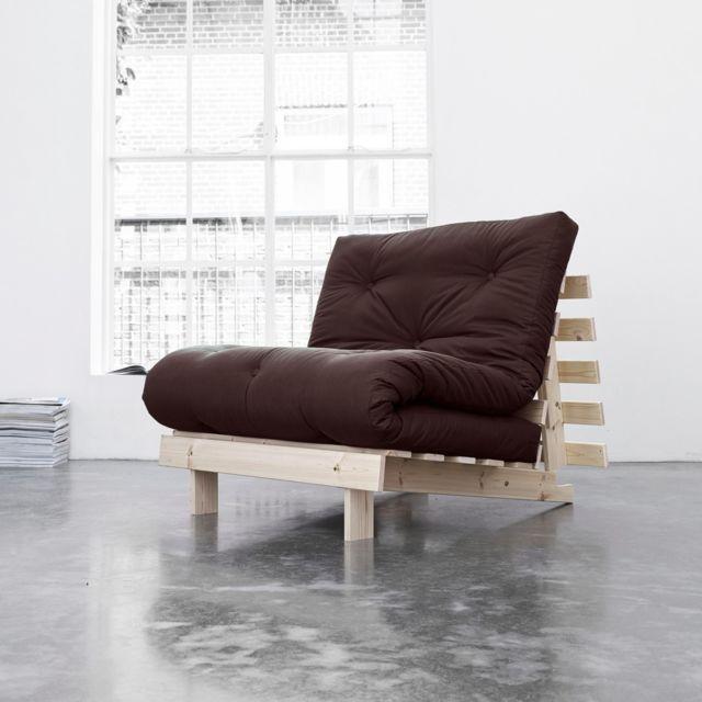 TERRE DE NUIT Pack matelas futon chocolat coton structure en bois naturel 90x200