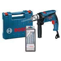 Bosch - Perceuse à percussion 1 vitesse 600W mandrin 10mm livrée en coffret de transport GSB 13 RE + Set de 4 forets ROBUSTLine CYL-9 0601217103