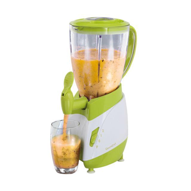 DOMOCLIP Blender avec robinet verseur blanc/vert DOP141BV Blender - Avec bol amovible plastique de 1,5 L - 2 vitesses - Fonction pulse - Couvercle avec ouverture de remplissage - 1 couteau 4 lames en acier inoxydable - Indicateur de niveau - Pieds antid&e