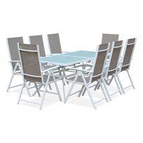 Salon de jardin en aluminium table 8 places Blanc textilène fauteuil Taupe