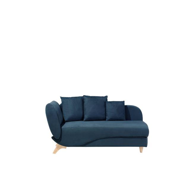 BELIANI Canapé bleu marine côté gauche MERI - noir
