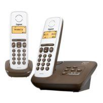 Gigaset - Al130A Duo Téléphone numérique sans fil Blanc/Marron