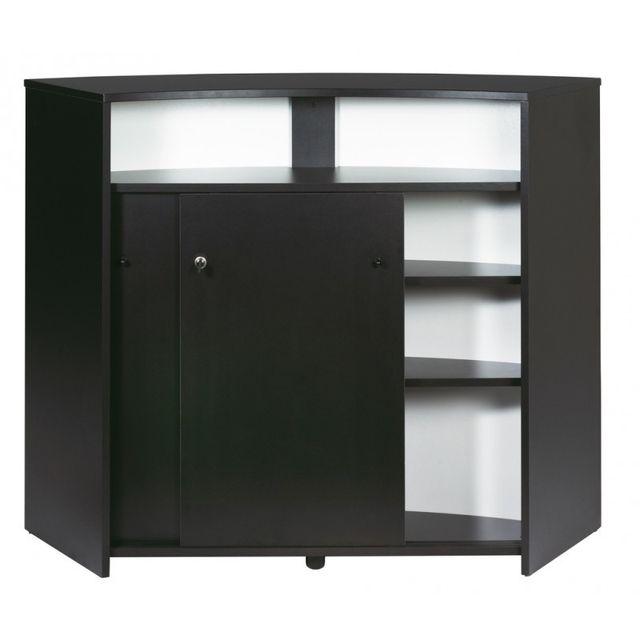 Simmob meuble bar comptoir d 39 accueil 2 portes noir coloris blanc pas cher achat - Meuble de cuisine noir pas cher ...
