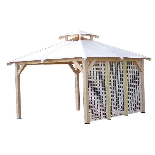 Habrita Tonnelle 4 pentes Spacio avec treillage en bois sur 1 côté