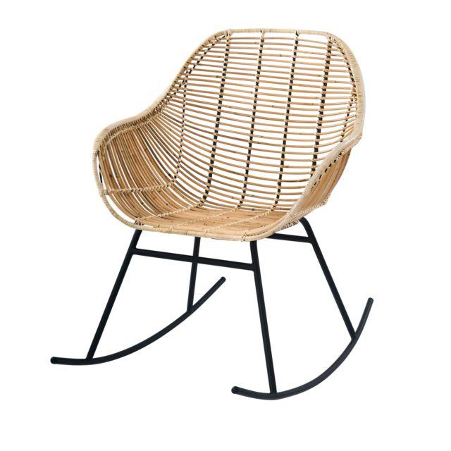 Rendez Vous Deco Rocking-chair Pakur en rotin naturel