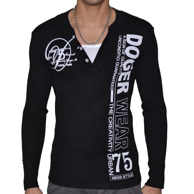 447308e31bff4 Doger Wear - Pull Col V Double - Homme - Sd 111 - Noir - pas cher ...