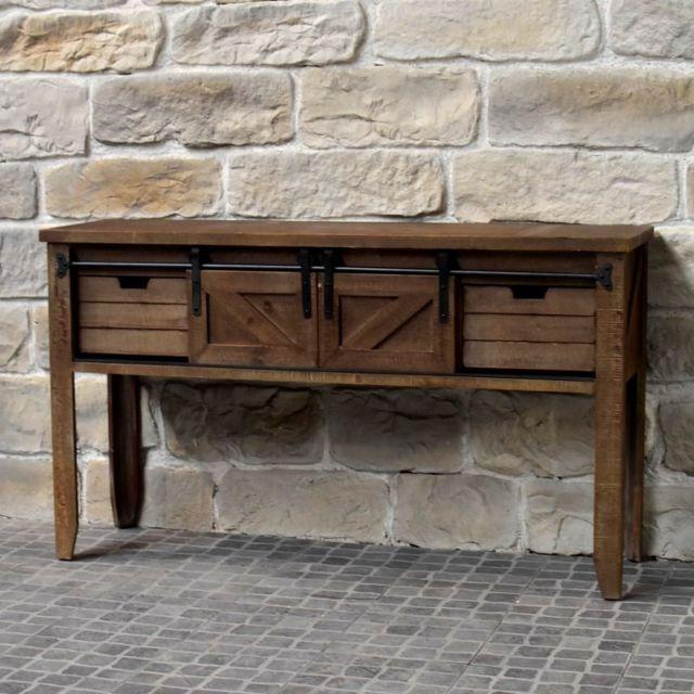 Chemin De Campagne Meuble Console Table de Drapier Industriel Bois Fer 140 cm