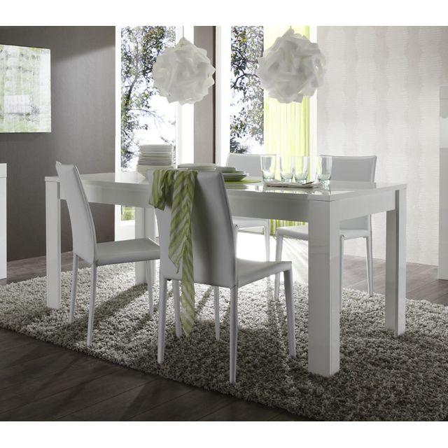 Sofamobili Table à manger blanc laqué design Pietra - Sans rallonge