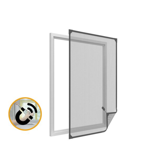 empasa moustiquaire cadre fixe amovible fen tre magnetique pvc gris l100 x h120 cm pas cher. Black Bedroom Furniture Sets. Home Design Ideas