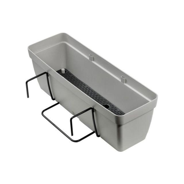 Deroma kit de jardiniere enjoy a r serve d 39 eau 9 6 l 50 x 16 1 x h 16 cm gris cume - Jardiniere reserve d eau ...