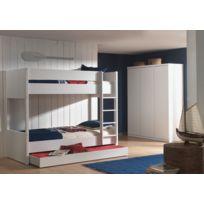 Modern Life - Lit superposé + tiroir + armoire 3 portes