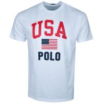 Homme T Pour Shirt Usa Rond Polo Col Blanc uZwOPTkXi