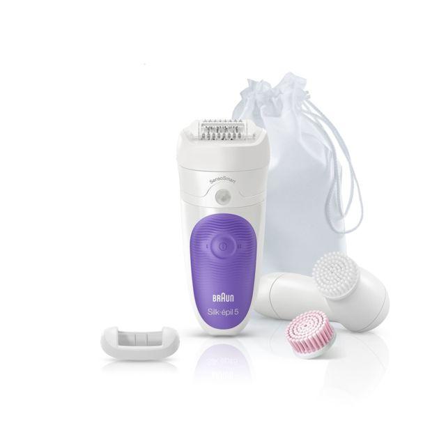 BRAUN Epilateur électrique + Brosse visage - 5 accessoires - Blanc/Violet 5 accessoires incluant des rouleaux de massage, un accessoire de contact avec la peau, une brosse nettoyante visage et une trousse - Smartlight - Système de massage haute fréquence.