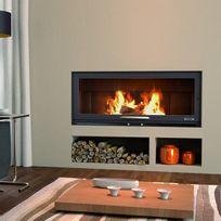 Focgrup - Insert Bv90 panoramique avec Pieds et Foyer acier et Porte guillotine