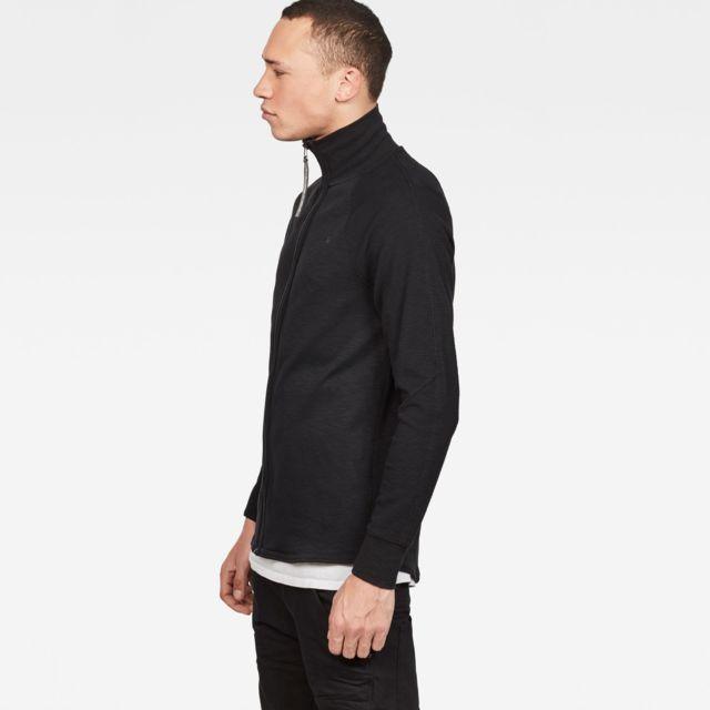 G-STAR RAW Survêtement Jirgi zip thru Noir Coupe droite, Col côtelé extensible, Longue tirette, Logo de la marque sur la poitrine, Tissu gaufré chaud, Stretch pour plus de confort, Intérieur et extérieur aux textures cont