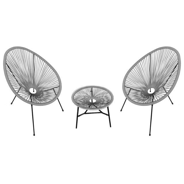 HAPPY GARDEN Ensemble de 2 fauteuils oeuf + table ACAPULCO gris
