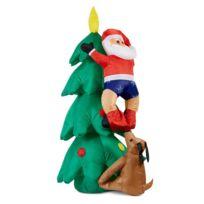 ONECONCEPT - Santa on Tree Père noël gonflable 150 cm ventilateur 6 LED