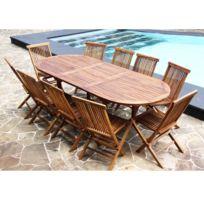 Bois Dessus Bois Dessous - Salon de jardin en bois de Teck Huilé - Table ovale 8/10 personnes + 10 chaises pliantes