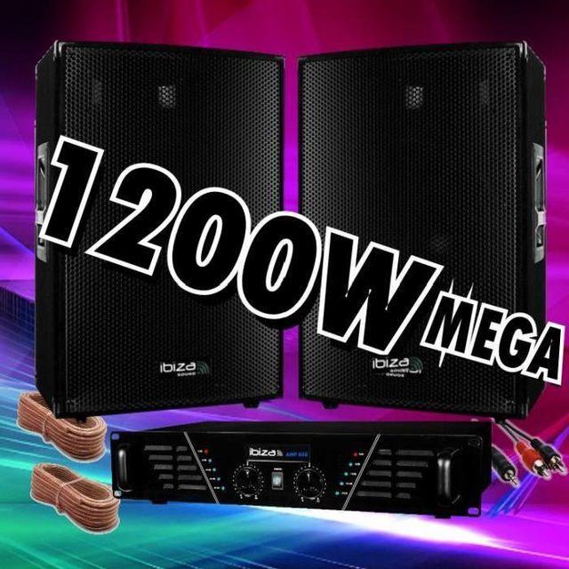 Ibiza Sound Pack sono 1200w avec ampli sono 960w - 2 enceintes 600w fou