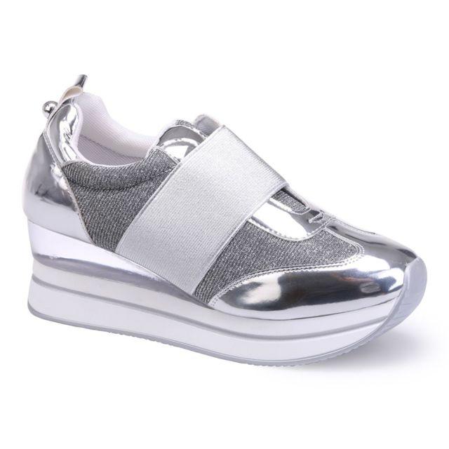 Baskets Femme Homme Vintage Compensées Respirant Chaussres de Sport Running à Lacets - Noir uOPZ19UmK