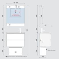 Dimensions meuble longueur largeur hauteur catalogue - Meuble salle de bain 70 cm largeur ...