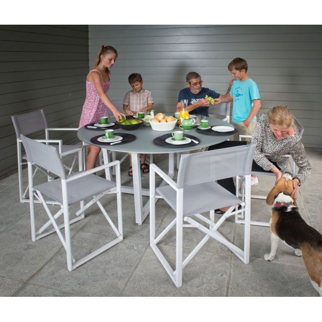 Gecko Jardin - Salon Lanzo table ronde alu blanc + 4 fauteuils ...