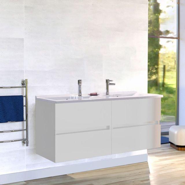 CREAZUR - Caisson double vasque ROSALY 140 - Blanc brillant - pas ... b5c967e4c8d8
