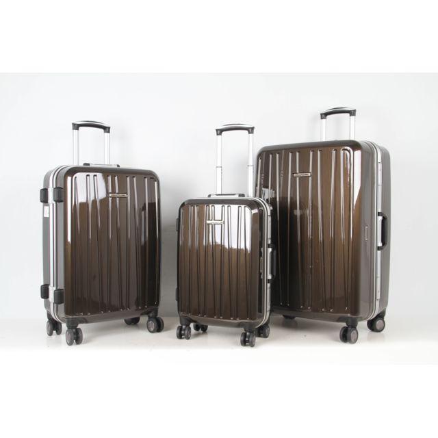 CARREFOUR - Lot de 3 valises Haute qualité 4 roues - Marron - PC1412-02 190
