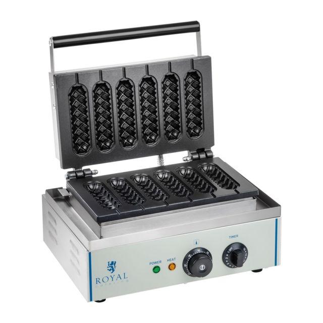 Helloshop26 Gaufrier épi professionnel Téflon rond puissance 1 x 1 500 watts 3614061