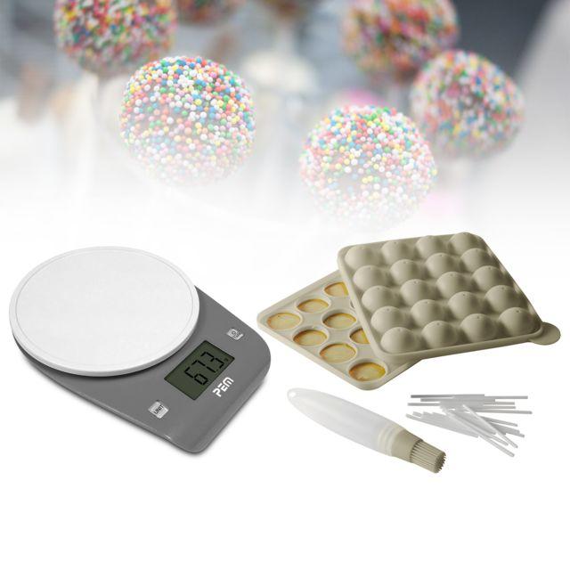 Pem Kit moule cakepops bâtonnets et pinceau + Balance culinaire avec écran digital