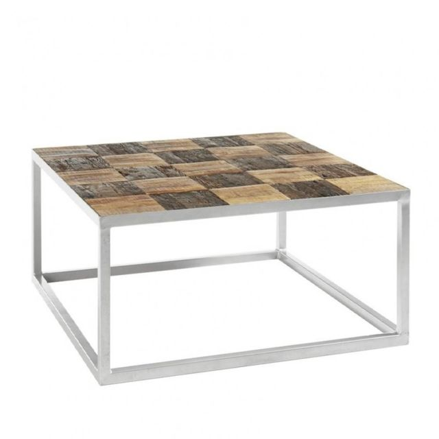 Inside 75 Table basse Broder 80 x 80 cm metal silver plateau manguier