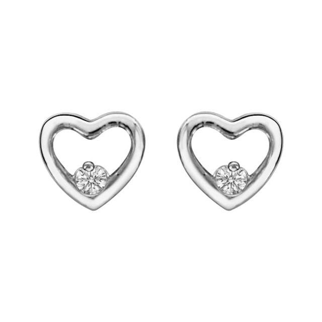 Argent Boucles Coeur Blanc Oxyde Ajourée Zirconium Bijoux D'oreilles Chic © So 925 De nwvy8m0NOP