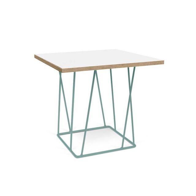 Inside 75 Tema Home Table basse Helix 50 plateau blanc mat/bois structure laquée verte