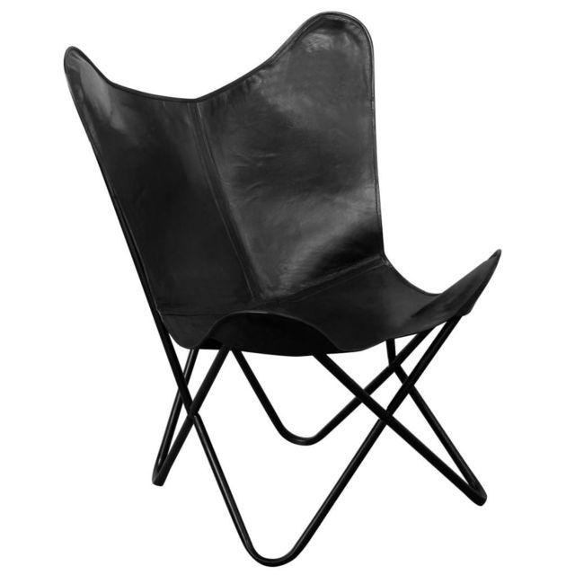 Vidaxl Chaise papillon Cuir véritable Noir | Noir