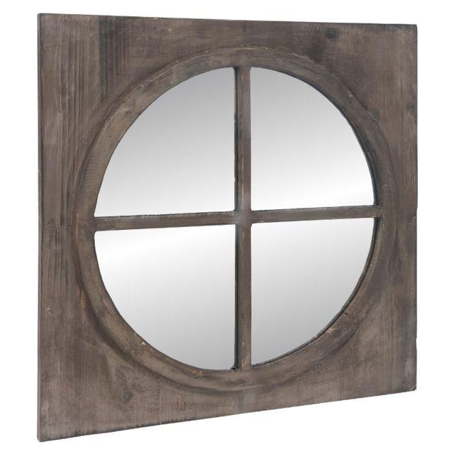 L'ORIGINALE Deco Grand Miroir Fenêtre Carré Glace Ronde Œil de Bœuf Bois 80 cm x 80 cm