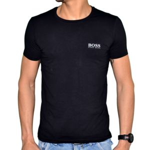 hugo boss t shirt manches courtes homme basic 50249638 noir blanc pas cher achat. Black Bedroom Furniture Sets. Home Design Ideas