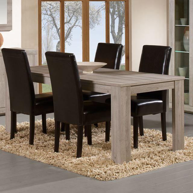 Nouvomeuble Table à manger 160 contemporaine couleur chêne gris Jonathan