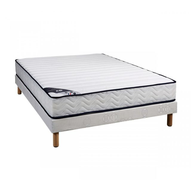someo ensemble matelas ressorts r10 sommier pieds 140x190 blanc pas cher achat vente. Black Bedroom Furniture Sets. Home Design Ideas