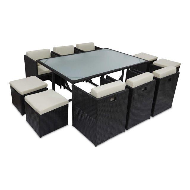 oviala salon de jardin 10 places encastrable en r sine. Black Bedroom Furniture Sets. Home Design Ideas