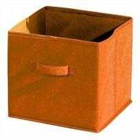 Aucune - Compo Tiroir de rangement tissu orange 27x27x28 cm
